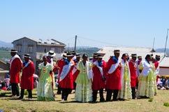 Hira gasy, manifestazione tradizionale malgascia di canto dell'aria aperta Immagine Stock Libera da Diritti