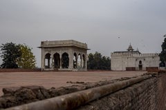 The Hira Mahal is a pavilion in the Red Fort in Delhi. It is a four-sided pavilion of white marble. Stock Photography