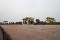 The Hira Mahal is a pavilion in the Red Fort in Delhi. It is a four-sided pavilion of white marble. Stock Image