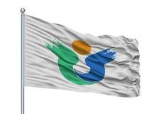 Hirado-Stadt-Flagge auf Fahnenmast, Japan, Präfektur Nagasaki, lokalisiert auf weißem Hintergrund vektor abbildung