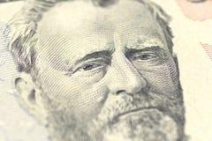 Hiram Ulysses Grant stående från oss 50 dollar Arkivbild