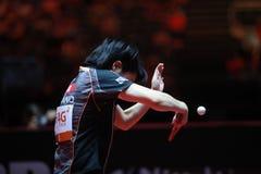 HIRANO Miu backhand. Women`s Singles Semi-final World table tennis championships in Dusseldorf. 29 May 6 june 2017 Royalty Free Stock Photography