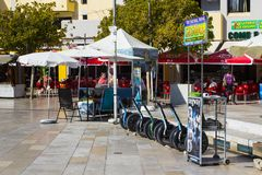 A hire centre for Segway personal transporters in Albuferia in Portugal Royalty Free Stock Photo
