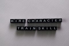 Hire character. Train skill on wooden blocks. Motivation and inspiration concept royalty free stock photo