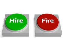Hire Fire Buttons Show Hiring Or Firing. Hire Fire Buttons Showing Hiring Or Firing Stock Image
