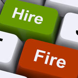 Hire Fire Keys Shows Human Resources Or Recruitment. Hire Fire Keys Showing Human Resources Or Recruitment royalty free stock photo