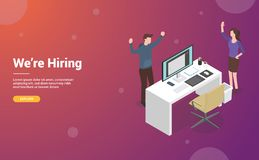 Hire or hiring designer or graphic design concept with empty desk and chair for website or web template landing design - vector royalty free illustration