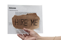 Hire me. Message with resume in white background stock image
