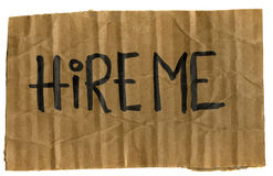 Hire me - cardboard sign Royalty Free Stock Photos