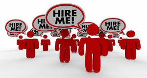 Hire Me Job Candidates Interview Speech Bubble People. 3d Illustration royalty free illustration