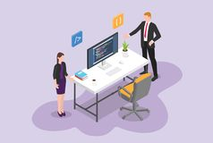 Hire programmer or software developer vacancy concept with empty chair and work desk program with isometric - vector vector illustration