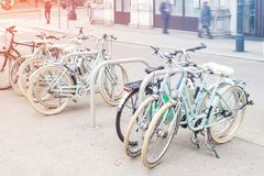 Hire retro bicycles parking at old Vienna city center. Healthy and environment friendly city transport . Healthcare urban. Lifestyle, bike, wheel royalty free stock images