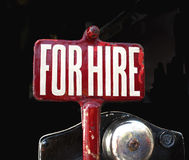 For Hire Sign. For hire vintage taxi sign Stock Photography