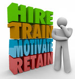 Hire Train Motivate Retain Employee Retention Satisfaction Think. Hire, Train, Motivate and Retain 3d words beside a thinker to illustrate human resources Stock Photos