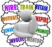 Hire Train Motivate Reward Inspire Retain Thought Clouds Keep Em Royalty Free Stock Photo