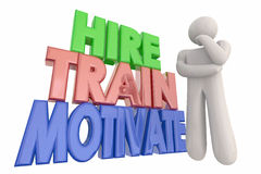 Hire Train Motivate Thinking Employee Words Royalty Free Stock Images