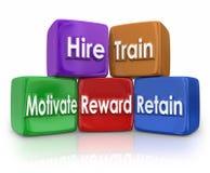 Hire Train Movitate Reward Retain Human Resources Mission Blocks Stock Photo