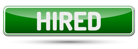 HIRED - Abstract beautiful button with text. Royalty Free Stock Photography