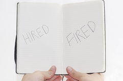 Hired/Fired choices on notepad. Stock Image