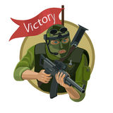 Hired soldiers with weapons Royalty Free Stock Images