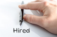Hired text concept. Hired note in business man hand Royalty Free Stock Photo
