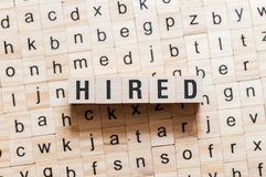 Hired word concept royalty free stock photo