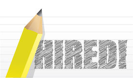 Hired written on paper illustration Stock Photography