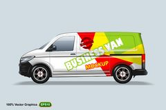 Business van. Delivery van template. With advertise, editable layout. HiRes, Vector EPS10 file. 100% Layered and editable. Good for all sizes stock illustration
