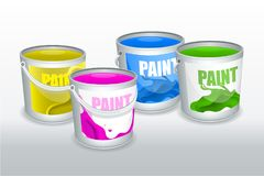 Four cans of paint stock illustration
