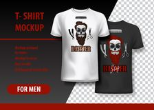 T-Shirt template, fully editable with Barber shop logo. EPS 10 Vector Illustration. HiRes, Vector EPS10 file. 100% Layered and editable. Good for all sizes royalty free illustration