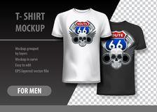 T-Shirt template, fully editable with Route 66 logo. EPS 10 Vector Illustration. HiRes, Vector EPS10 file. 100% Layered and editable. Good for all sizes vector illustration