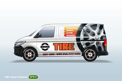 Tire service. Delivery van template. With advertise, editable layout. HiRes, Vector EPS10 file. 100% Layered and editable. Good for all sizes stock illustration