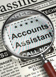 We are Hiring Accounts Assistant. 3D. Accounts Assistant - Jobs Section Vacancy in Newspaper. Loupe Over Newspaper with Vacancy of Accounts Assistant. Job Royalty Free Stock Image