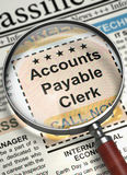 We are Hiring Accounts Payable Clerk. 3D. Illustration of Small Advertising of Accounts Payable Clerk in Newspaper with Loupe. Newspaper with Jobs Accounts Stock Photo