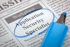 We are Hiring Application Security Specialist. 3D. A Newspaper Column in the Classifieds with the Jobs Section Vacancy of Application Security Specialist Royalty Free Stock Photos