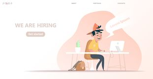 We are hiring banner with cartoon characters, vector illustration