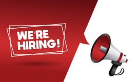 We are hiring banner with megaphone. Join our team stock illustration