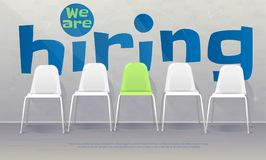 We are hiring banner. Vacant chairs near office wall. One of them has green color represent the hiring position to be recruited and filled. Vector illustration Stock Images