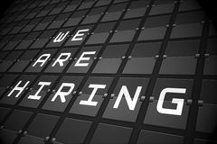 We are hiring on black mechanical board Stock Images