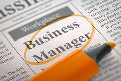 We are Hiring Business Manager. 3D. Business Manager. Newspaper with the Classified Advertisement of Hiring, Circled with a Orange Highlighter. Blurred Image Stock Images