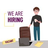 We are hiring. Businessman vector illustration