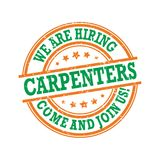 We are hiring carpenters. Come and join us! Printable label Royalty Free Stock Image