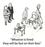 Hiring chairs. Applicants must walk around chairs Royalty Free Stock Photo
