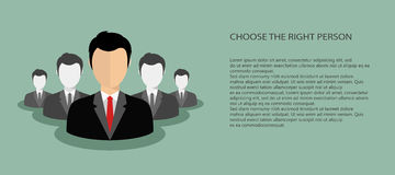 Hiring concept. Choosing the best candidate for the job banner concept. Green background. Flat vector design Stock Photos