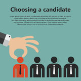 Hiring concept. Choosing the best candidate for the job concept. Hand picking up a businessman from the row. Flat design royalty free illustration