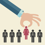 Hiring concept. Choosing the best candidate for the job concept. Hand picking up a businesswoman stick figure from the row. Woman leader concept. Flat design vector illustration