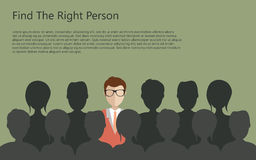 Hiring concept. Find the right person for the job concept. Green background. Flat  design Stock Photo