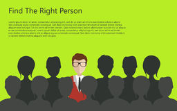 Hiring concept. Find the right person for the job concept. Green background. Flat design stock illustration