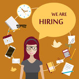 Hiring concept. We are hiring poster. Flat design stock illustration