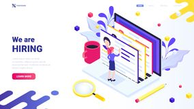 We are hiring concept for website, landing, page, banner. Web design concept. Trendy isometric illustration with tiny chara royalty free illustration